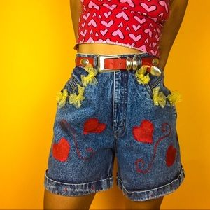 Hand painted heart high waisted vintage shorts